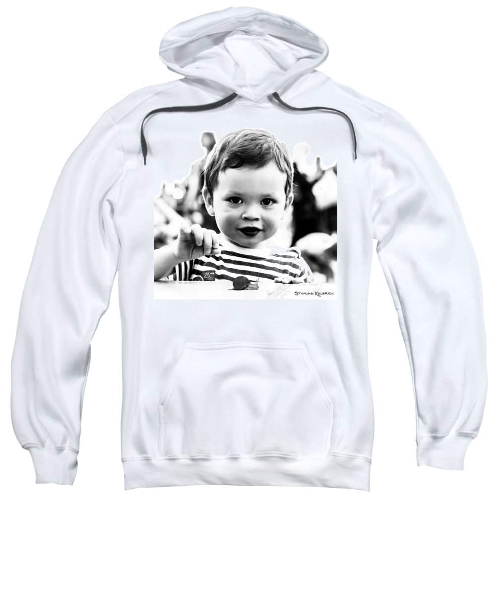 Portrait Sweatshirt featuring the photograph A Kid Playin' With A Snail by Stwayne Keubrick