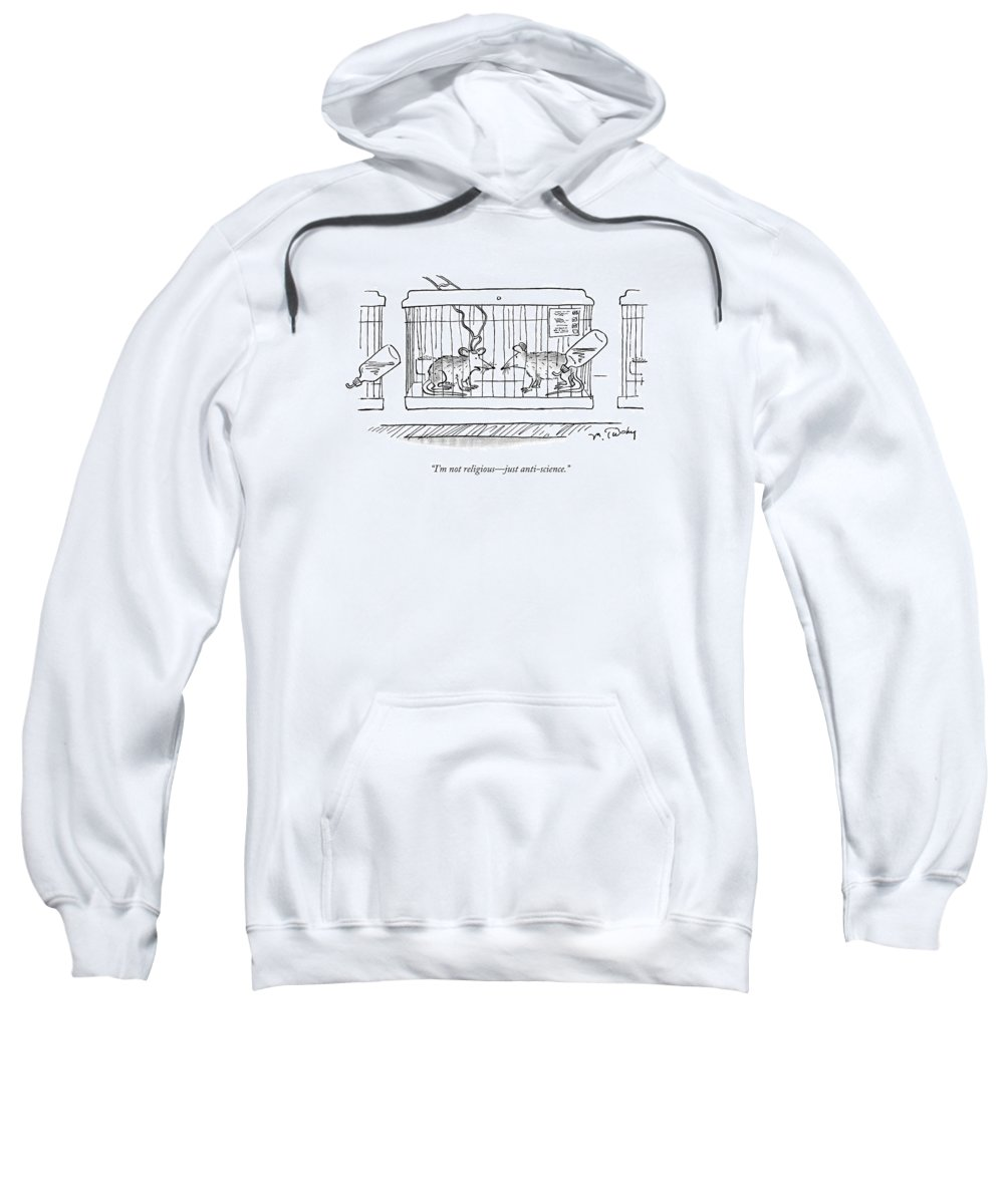 Animal Testing Sweatshirt featuring the drawing A Lab Rat With Electrodes On His Head Talks by Mike Twohy