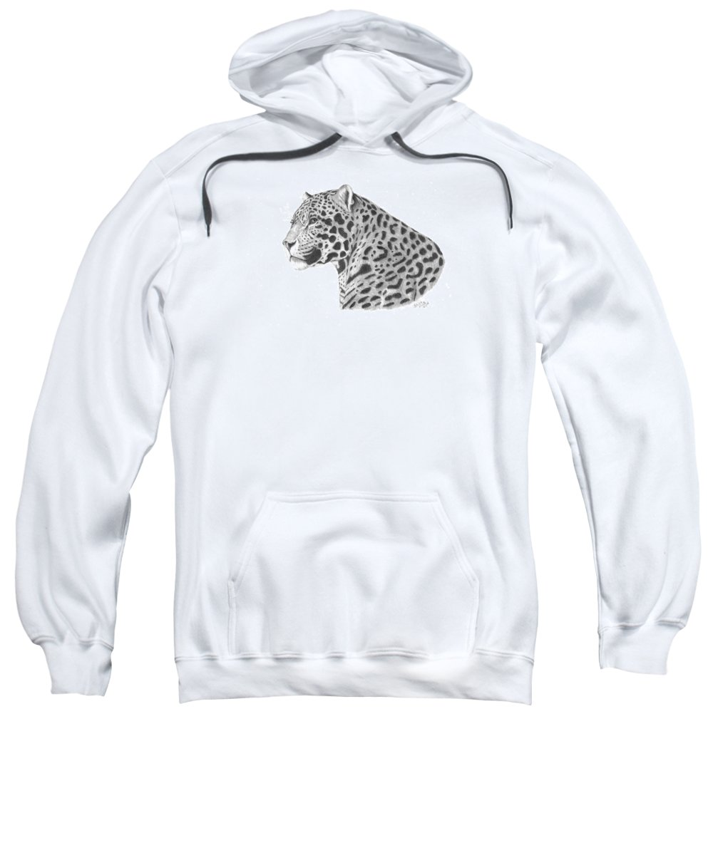 Leopard Sweatshirt featuring the drawing A Leopard's Watchful Eye by Patricia Hiltz