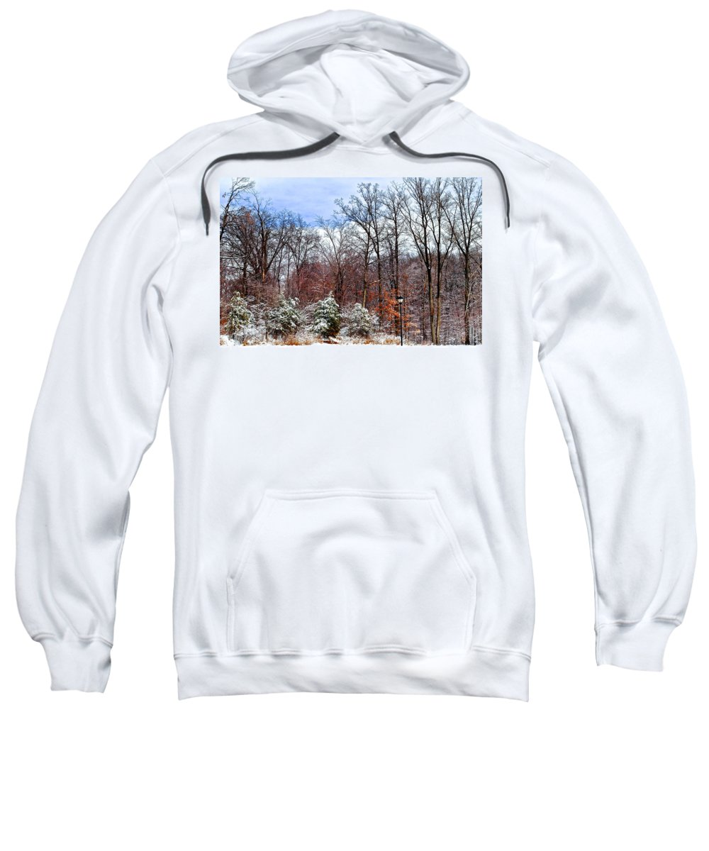 Snow Sweatshirt featuring the photograph A Light Dusting by Frozen in Time Fine Art Photography