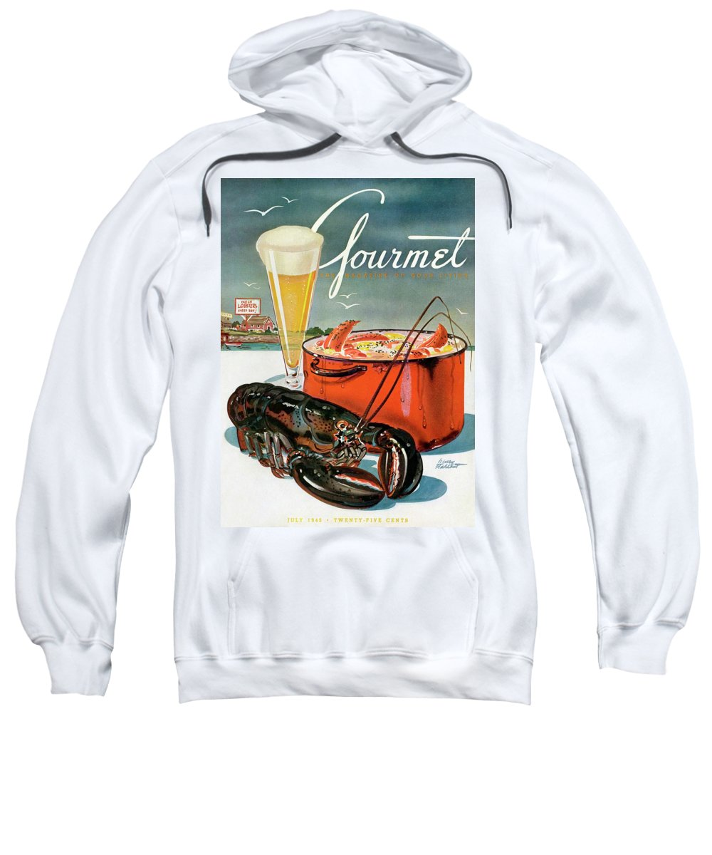 Illustration Sweatshirt featuring the photograph A Lobster And A Lobster Pot With Beer by Henry Stahlhut