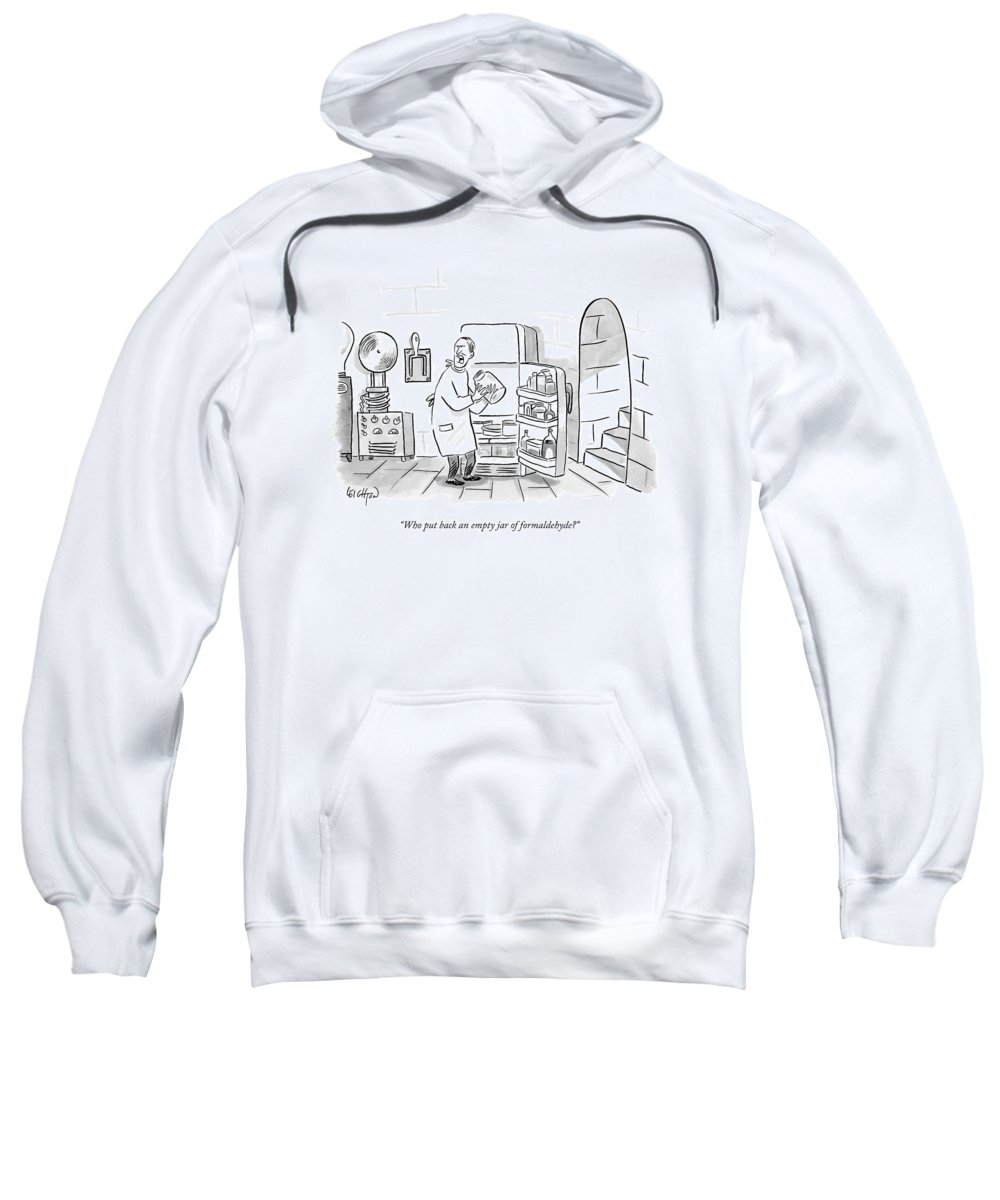Frankenstein Sweatshirt featuring the drawing A Mad Scientist Removes A Jar From The Laboratory by Robert Leighton