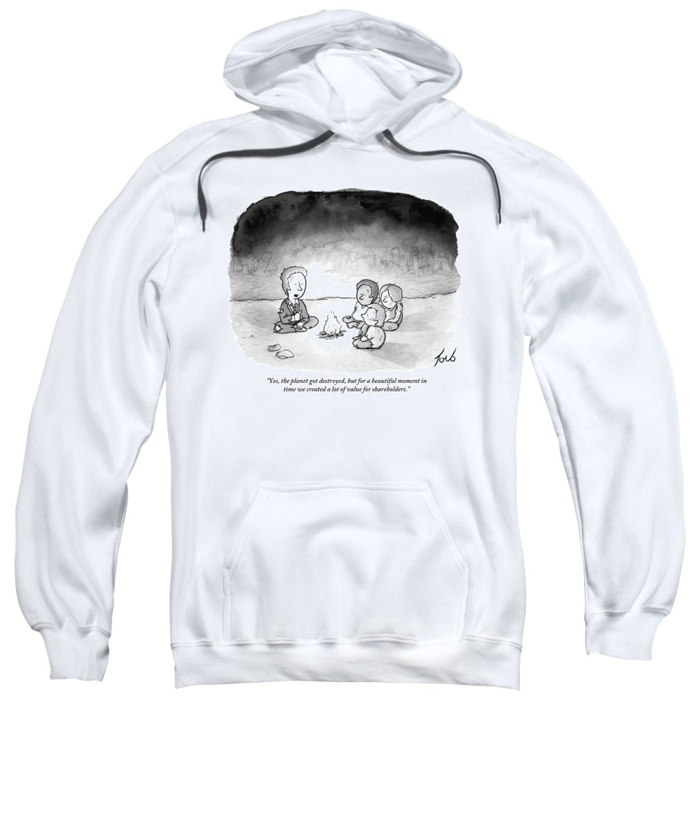 Yes Sweatshirt featuring the drawing A Man And 3 Children Sit Around A Fire by Tom Toro
