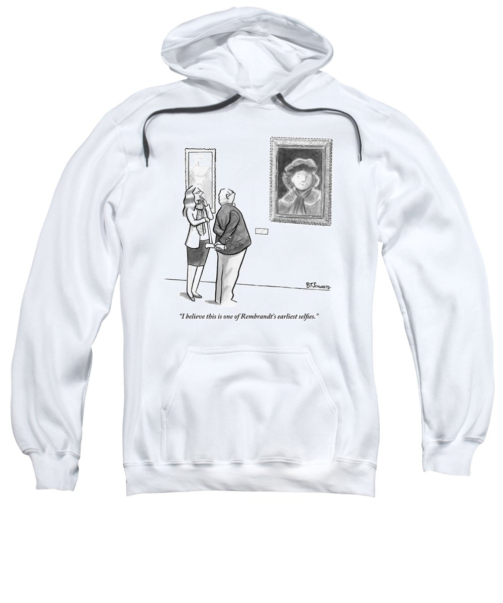Internet Slang Sweatshirt featuring the drawing A Man And Woman Stand In A Museum Looking by Benjamin Schwartz