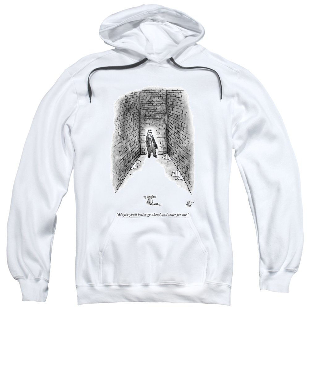 Rat Sweatshirt featuring the drawing A Man Cornered In An Alleyway Speaks On His Cell by Frank Cotham