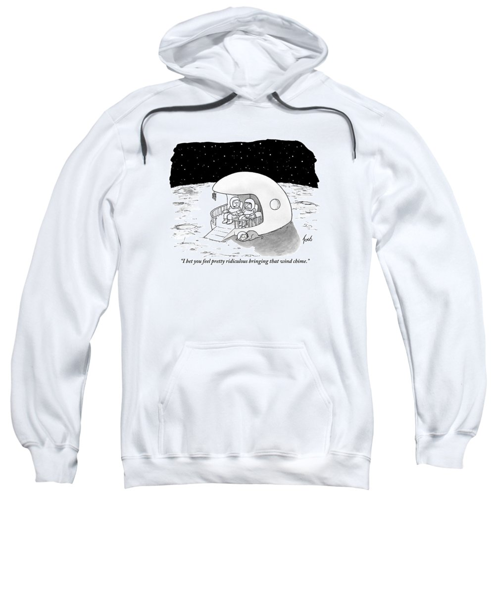 Space Travel Sweatshirt featuring the drawing A Man, His Wife, Their Cat, And Their Dog Relax by Tom Toro
