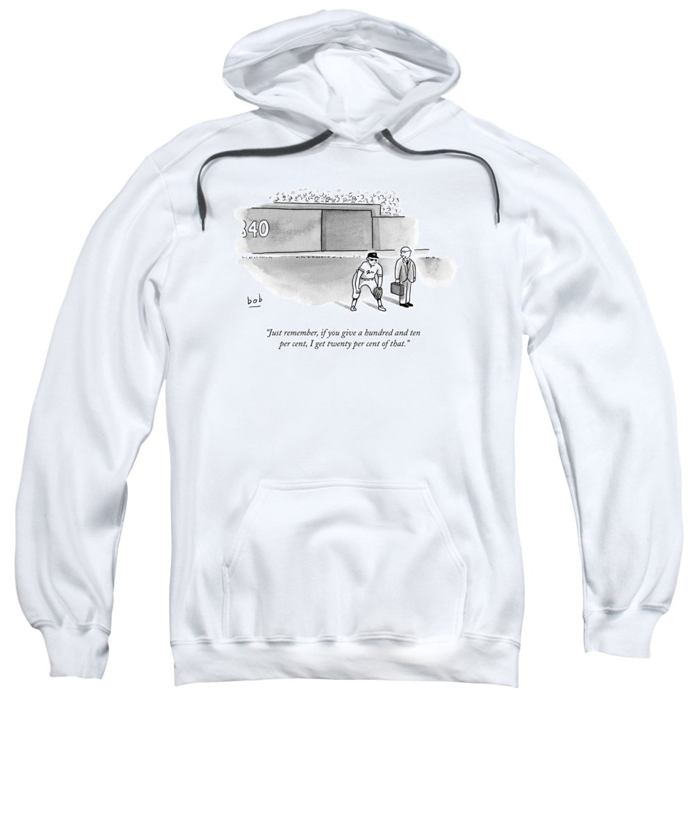 Agent Sweatshirt featuring the drawing A Man In A Suit Stands Beside A Baseball Player by Bob Eckstein