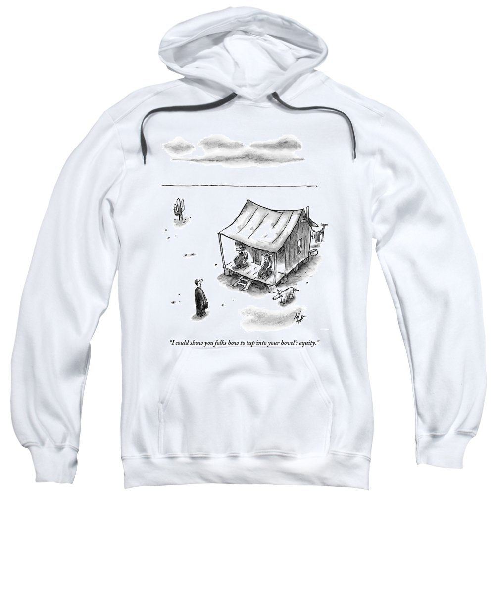 Equity Sweatshirt featuring the drawing A Man In A Suit With A Briefcase Approaches by Frank Cotham
