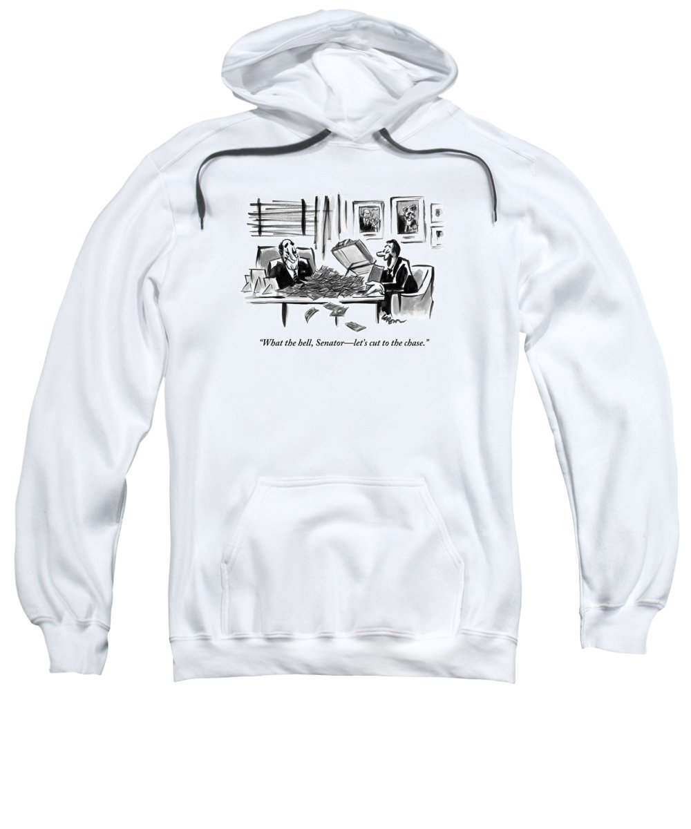 Washington Dc Sweatshirt featuring the drawing A Man Opens A Briefcase Full Of Cash by Lee Lorenz