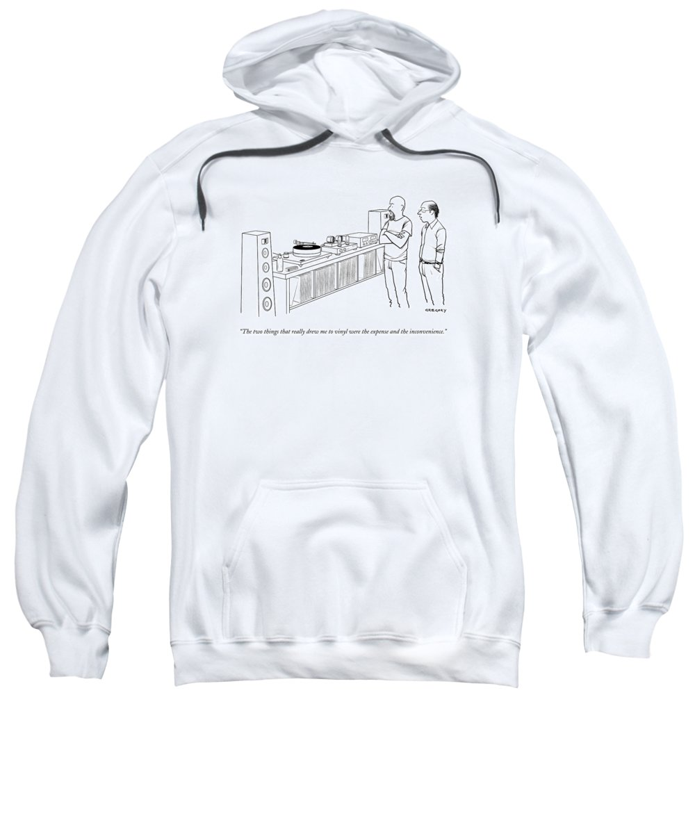 Records Sweatshirt featuring the drawing A Man Shows Another Man His Extensive Collection by Alex Gregory
