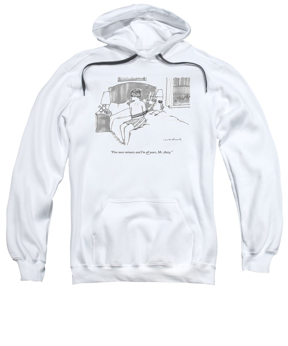 A Man Sits Tied Up In His Underwear On The Bed Adult Pull-Over Hoodie for  Sale by Michael Crawford 0127e3e37
