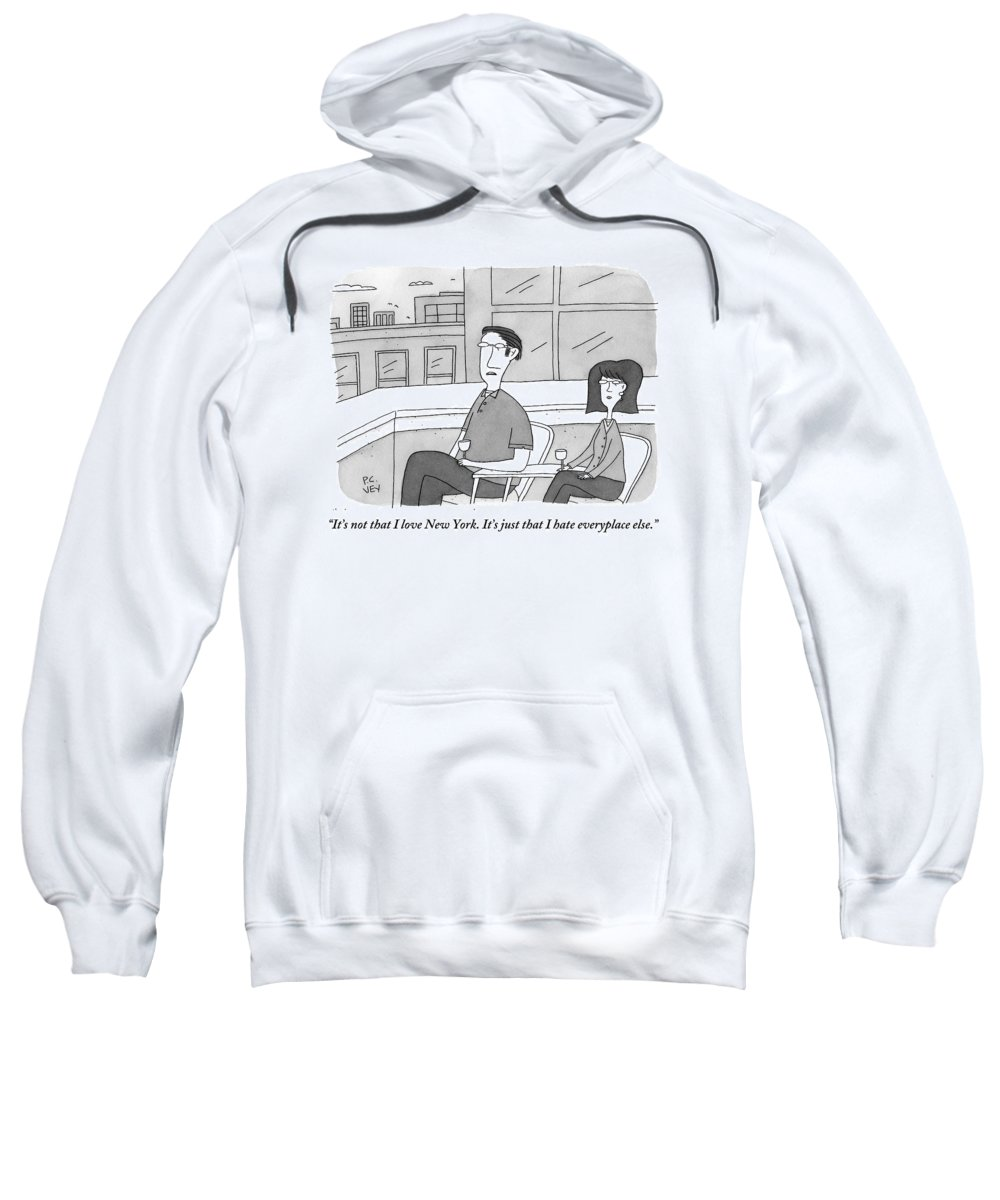 New York Sweatshirt featuring the drawing A Man Speaks To A Woman On A Balcony In The City by Peter C. Vey