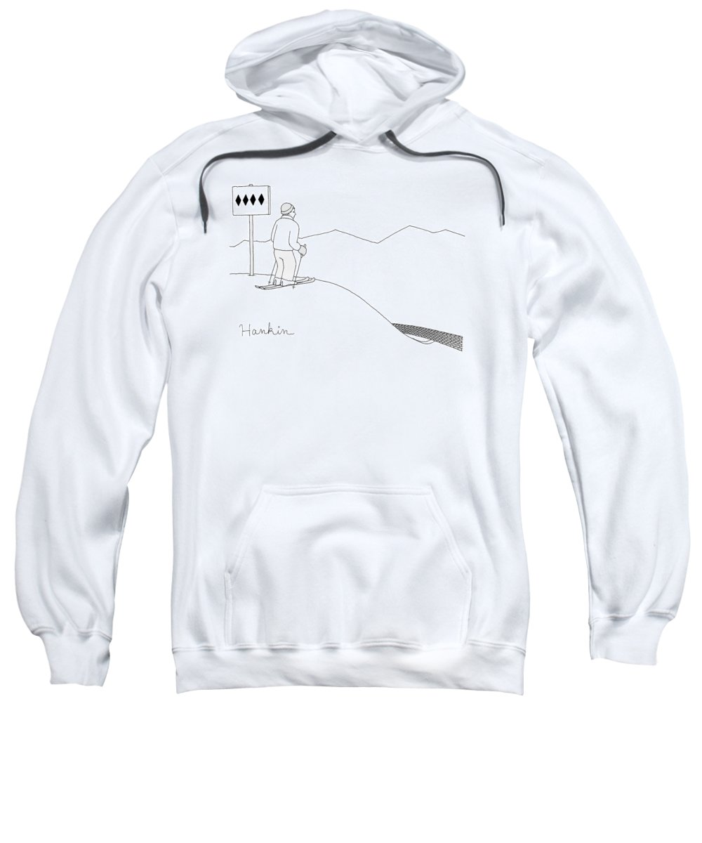 Captionless Sweatshirt featuring the drawing A Man Stands At The Top Of A Ski Slope by Charlie Hankin