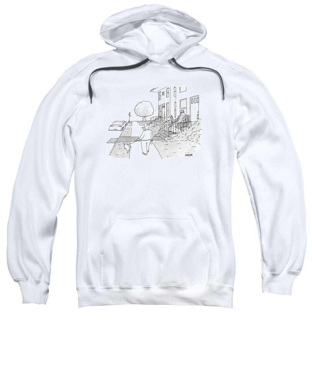 Captionless King Sweatshirt featuring the drawing A Man Walks His Dog Past A King Sitting by Jack Ziegler