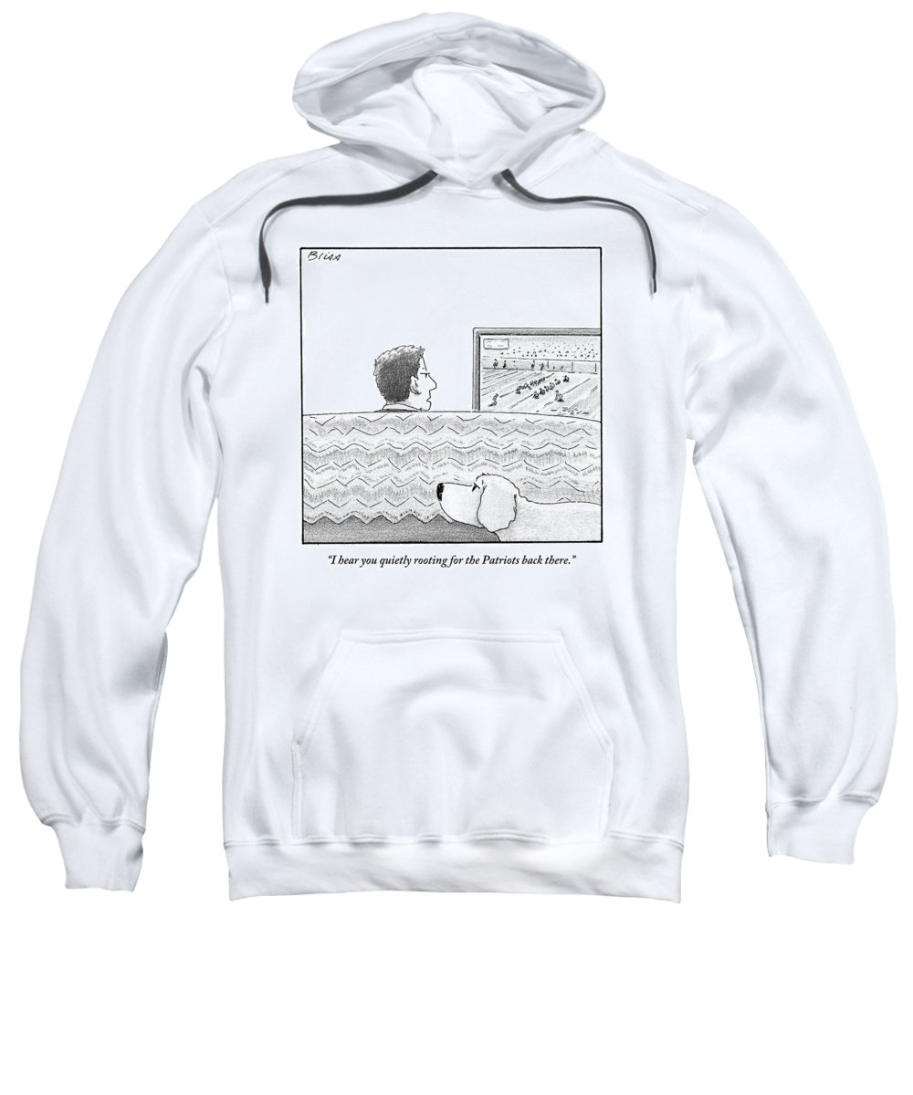 Football Sweatshirt featuring the drawing A Man Watches His Football Team Take by Harry Bliss