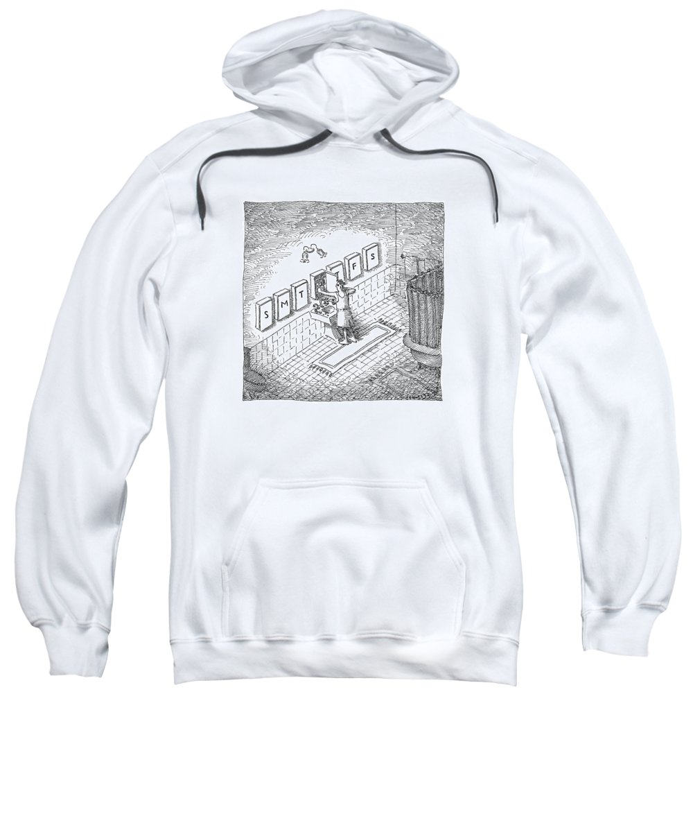 Pills Sweatshirt featuring the drawing A Man's Bathroom Medicine Cabinets Are Labeled by John O'Brien