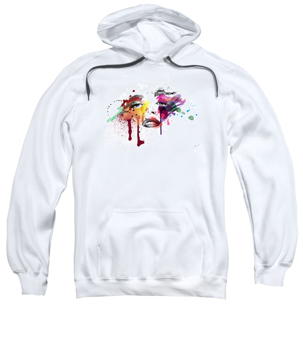 Portrait Sweatshirt featuring the painting A Moment Like This by Mark Ashkenazi