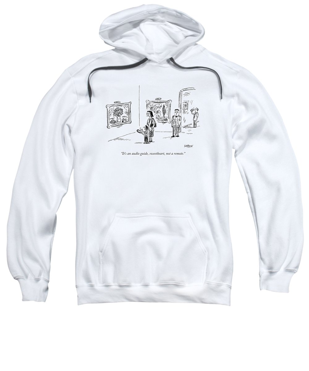 Museum Sweatshirt featuring the drawing A Mother And Child Stand In Front Of Paintings by David Sipress