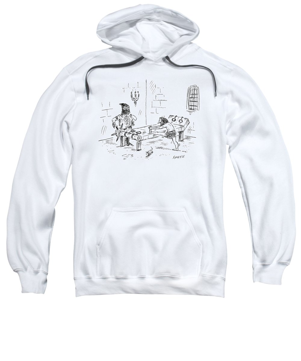 Athletes Sweatshirt featuring the drawing A Prisoner Is Seen Stretching On A Torture Rack by David Sipress