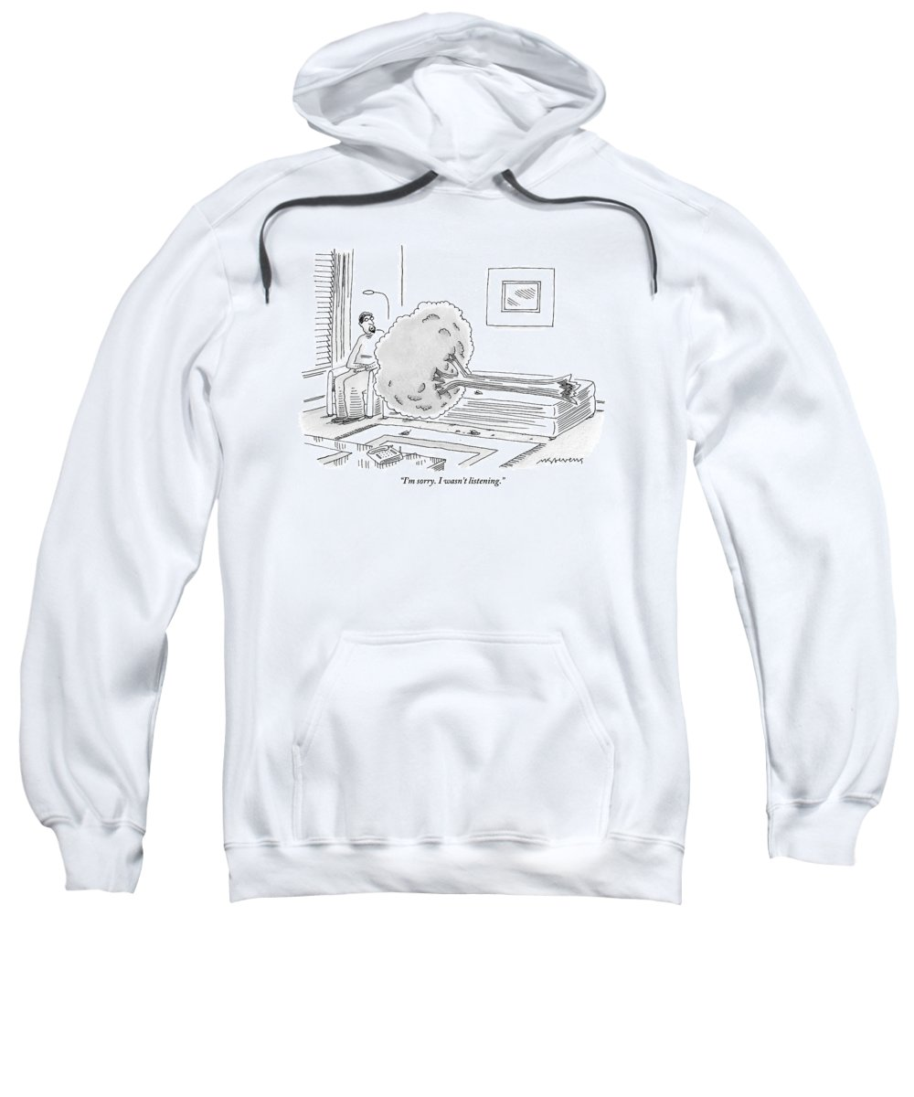 Trees Sweatshirt featuring the drawing A Psychiatrist Or Psycho-analyst Sits by Mick Stevens