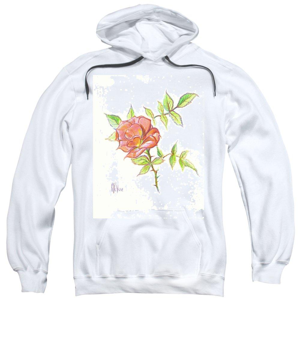 A Rose In Brigadoon Sweatshirt featuring the drawing A Rose In Brigadoon by Kip DeVore