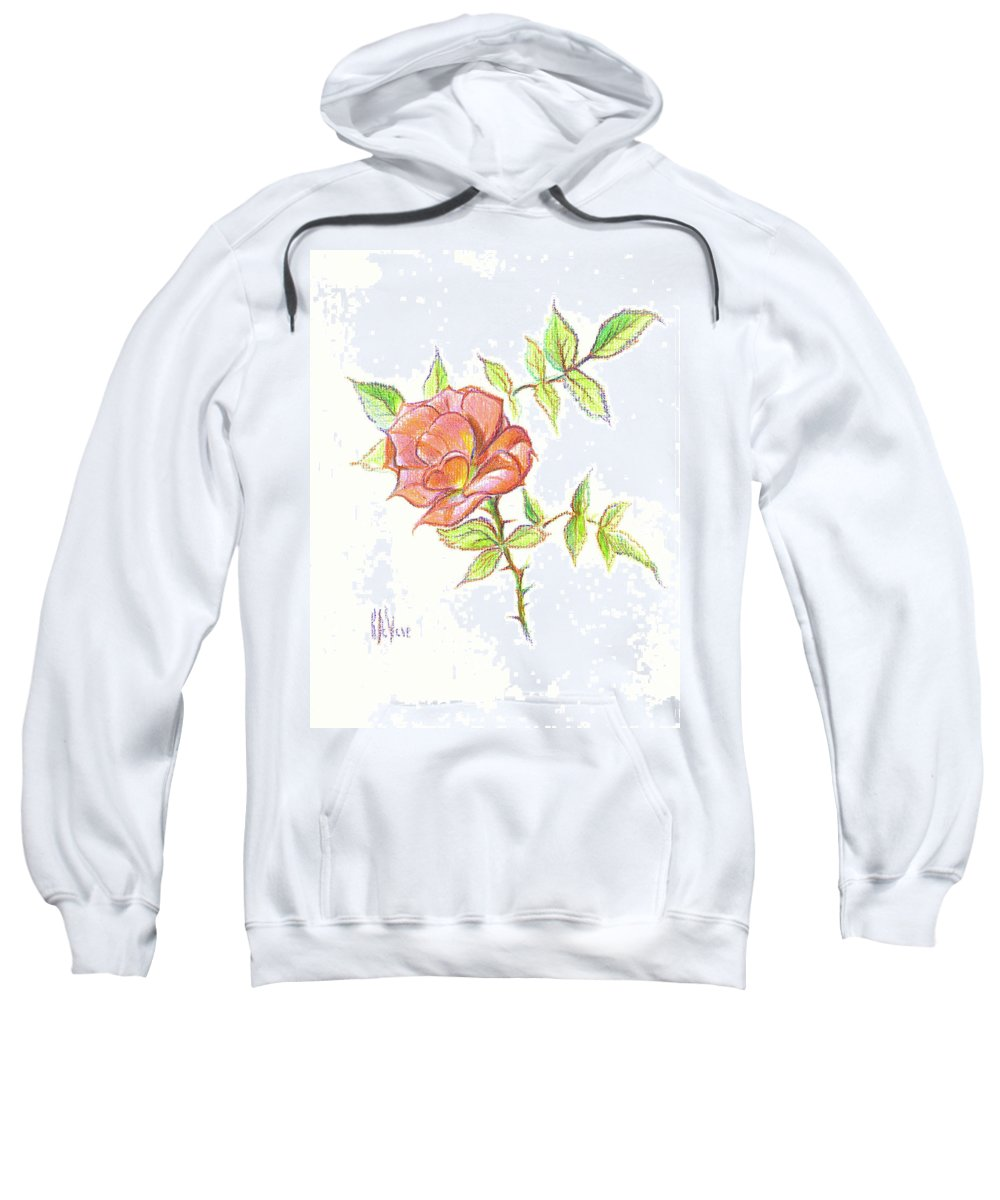 A Rose In Brigadoon Sweatshirt featuring the drawing A Rose In Brigadoon by Kip DeVore