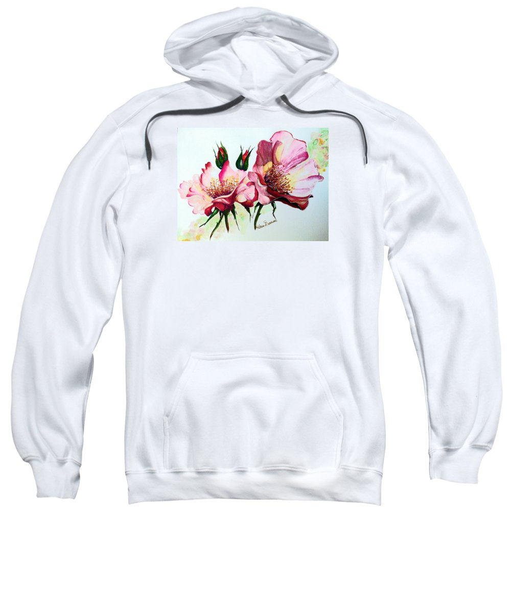 Flower Painting Sweatshirt featuring the painting A Rose Is A Rose by Karin Dawn Kelshall- Best
