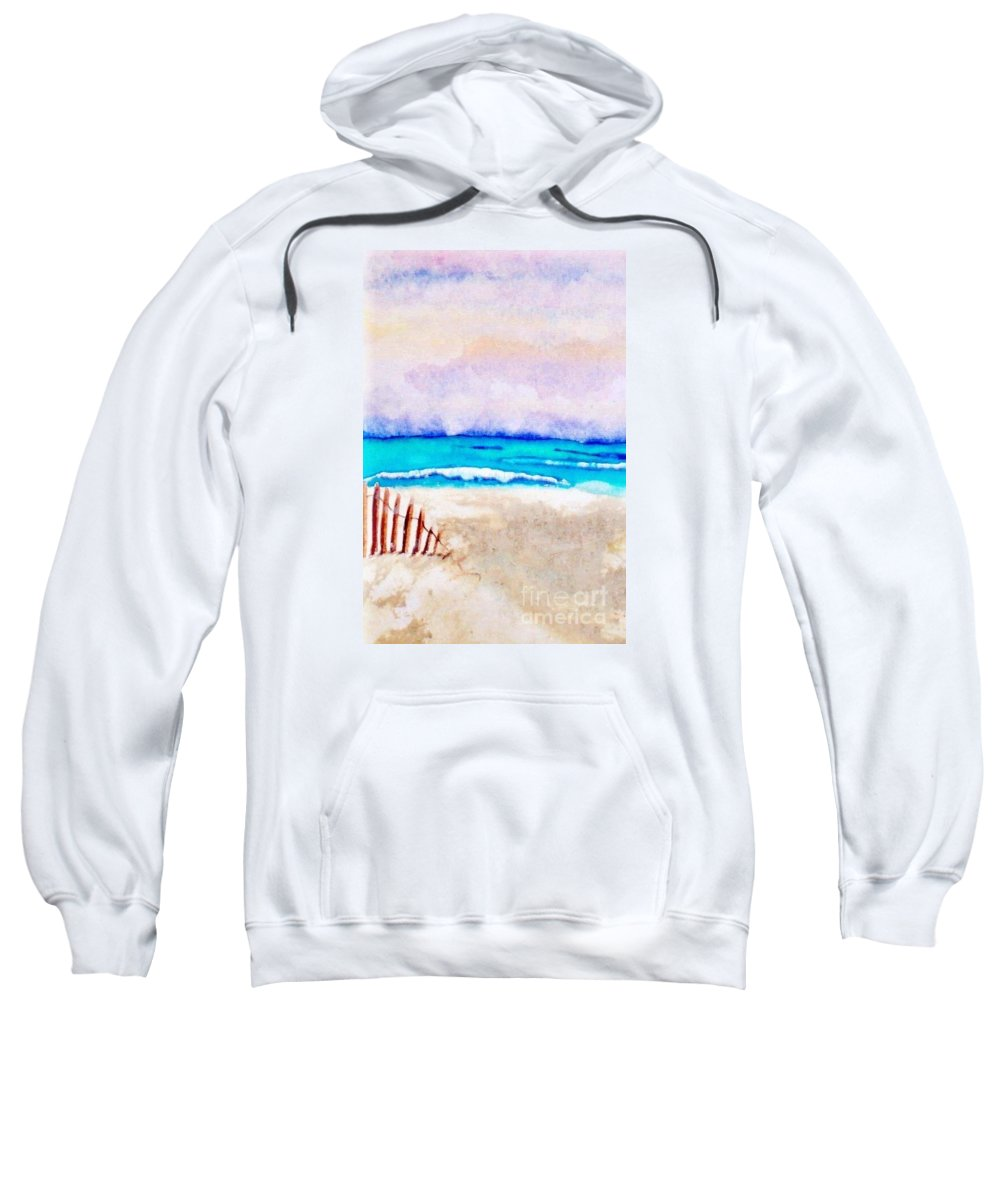 Watercolor Painting Sweatshirt featuring the painting A Sand Filled Beach by Chrisann Ellis