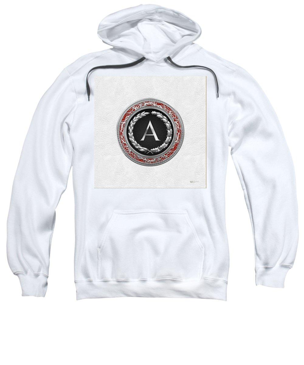 C7 Vintage Monograms 3d Sweatshirt featuring the digital art A - Silver Vintage Monogram On White Leather by Serge Averbukh
