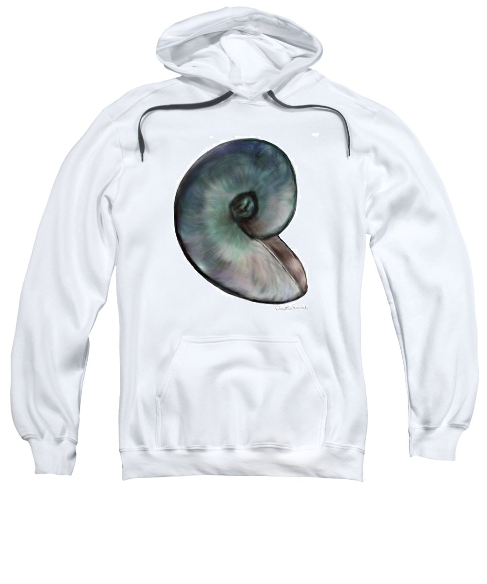 Shell Sweatshirt featuring the painting A Single Shell by Christine Fournier