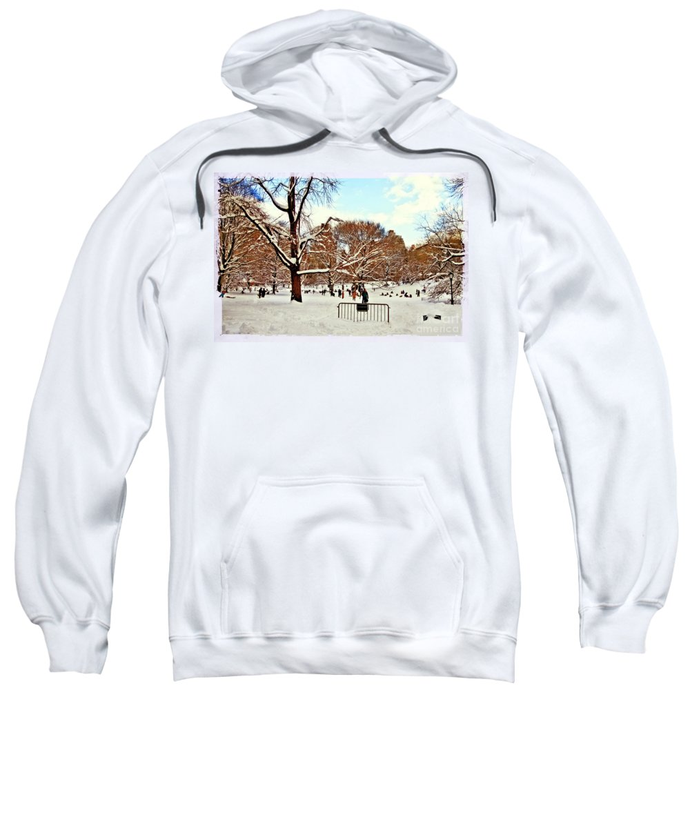 Owboards Sweatshirt featuring the photograph A Snow Day In Central Park by Madeline Ellis