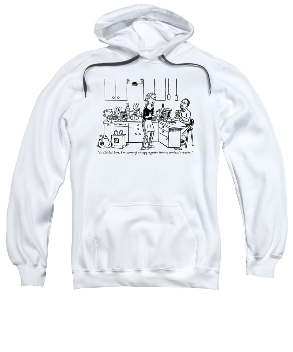 Kitchen Sweatshirt featuring the drawing A Stressed-out Looking Woman Wearing An Apron by Ward Sutton