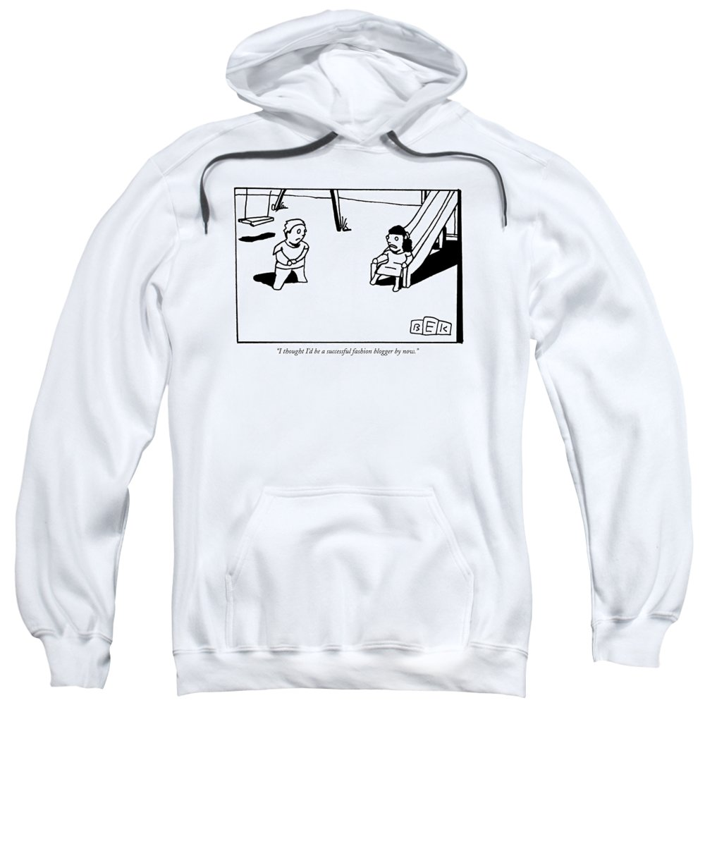 Fashion Sweatshirt featuring the drawing A Toddler Girl Says To A Boy by Bruce Eric Kaplan