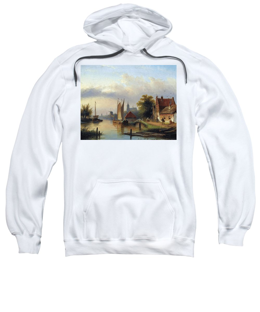 Jacob Jan Coenraad Spohler Sweatshirt featuring the painting A Town By The River by Jacob Jan Coenraad Spohler