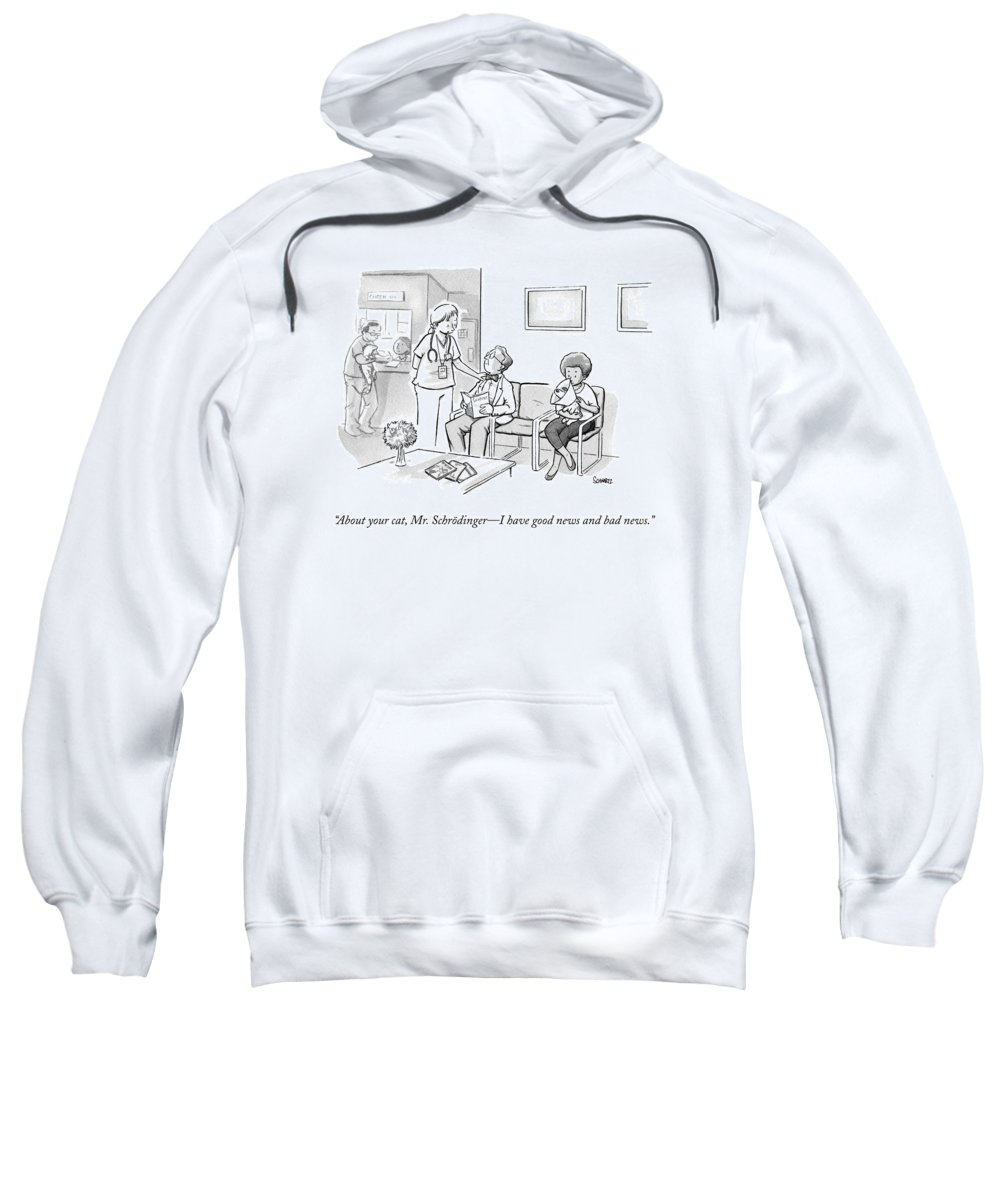 Science Sweatshirt featuring the drawing A Veterinarian Confronts A Man In The Waiting by Benjamin Schwartz