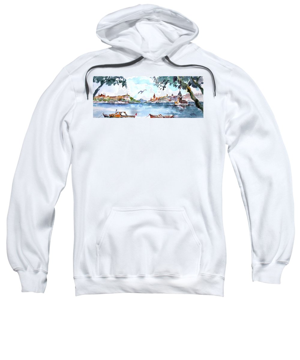 Historical Sweatshirt featuring the painting A View Of The Historical Peninsula From Uskudar - Istanbul by Faruk Koksal