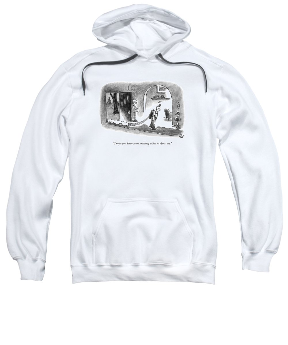Skydiving Sweatshirt featuring the drawing A Wife Speaks To Her Husband As He Walks by Frank Cotham