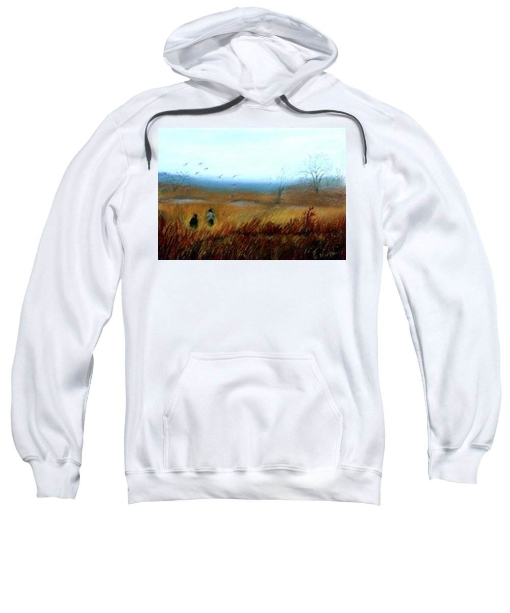 Figures Sweatshirt featuring the painting A Winter Walk by Gail Kirtz