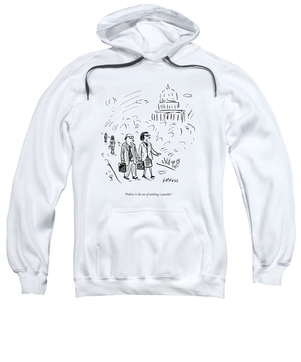 Politics Sweatshirt featuring the drawing A Woman And Man Speak As They Walk by David Sipress