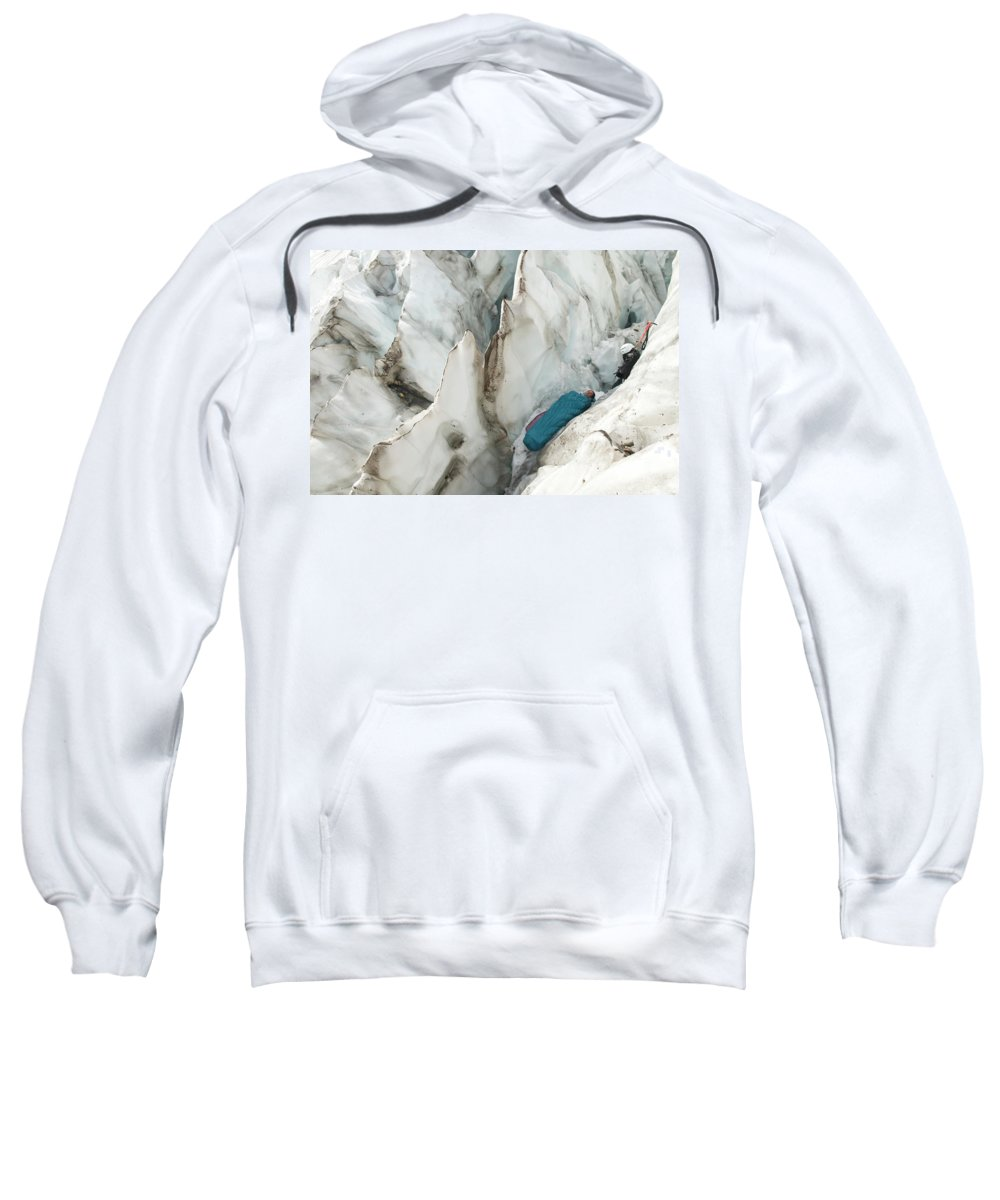 30s Sweatshirt featuring the photograph A Woman Sleeping In An Icy Crevasse by Kennan Harvey