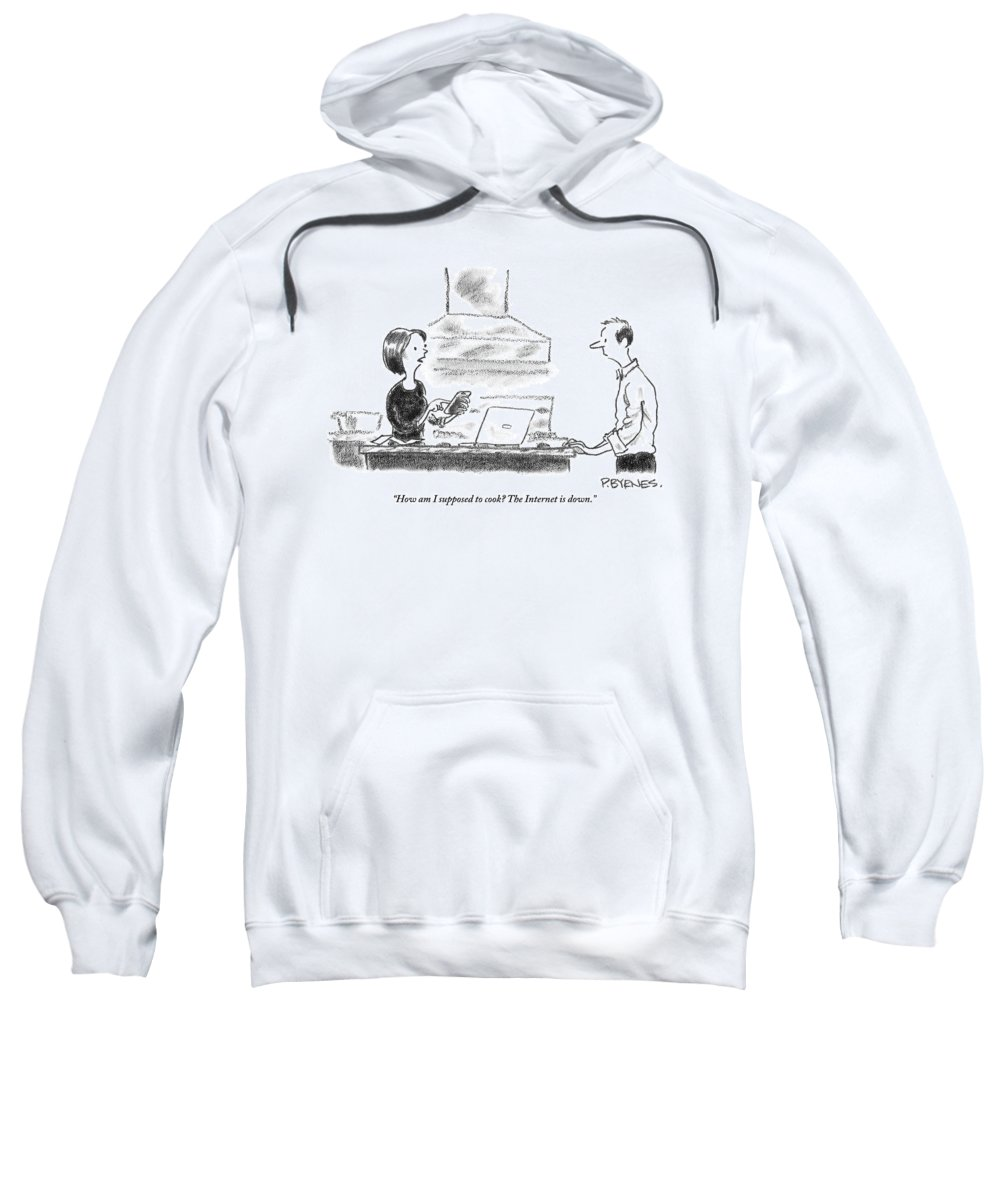 Internet Sweatshirt featuring the drawing A Woman Stands In The Kitchen Helplessly by Pat Byrnes