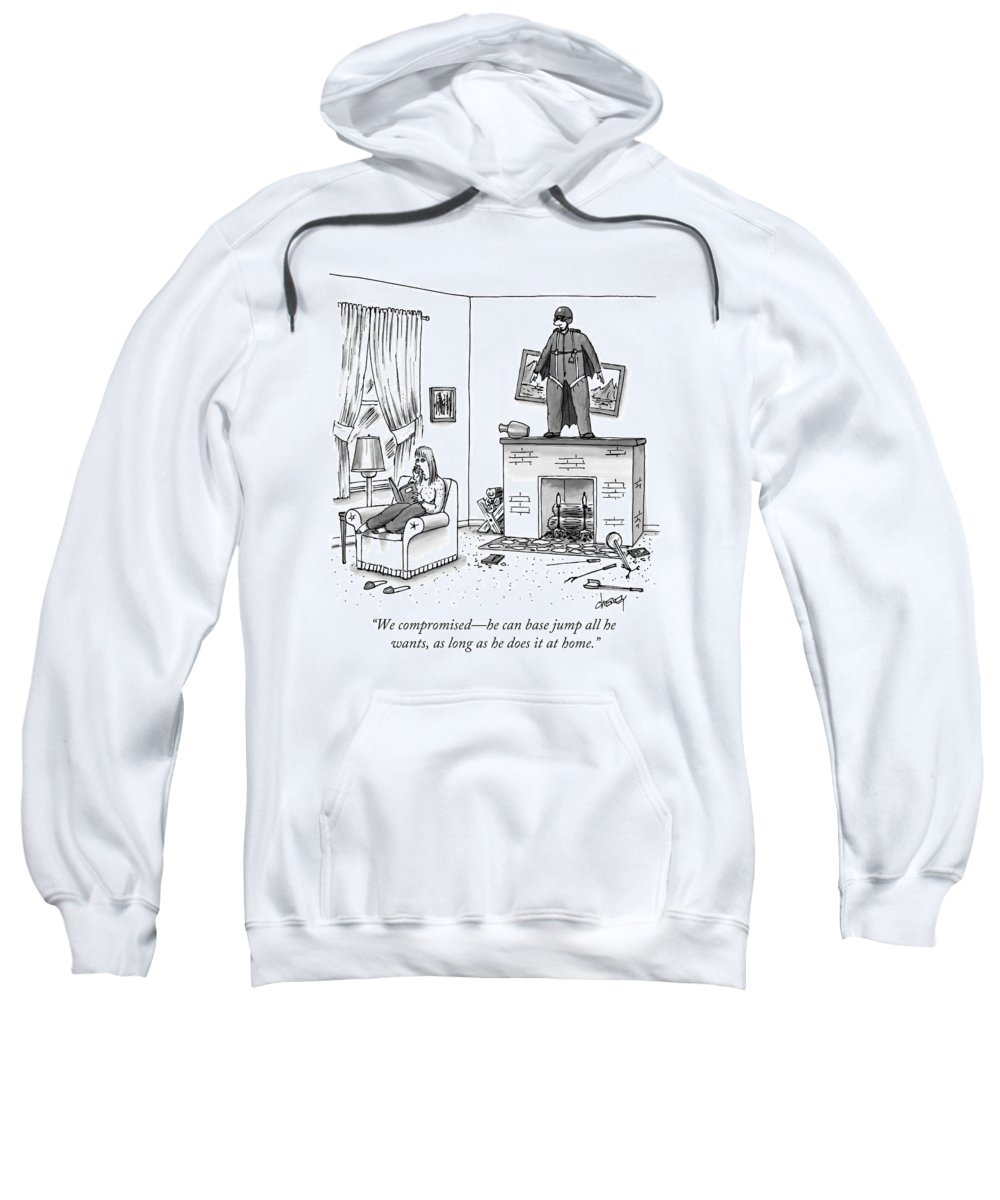 Daredevil Sweatshirt featuring the drawing A Woman Talking On The Phone While A Man by Tom Cheney
