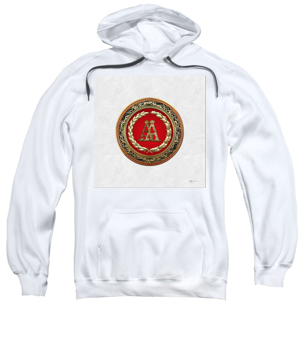C7 Vintage Monograms 3d Sweatshirt featuring the digital art Aa Initials - Gold Antique Monogram On White Leather by Serge Averbukh