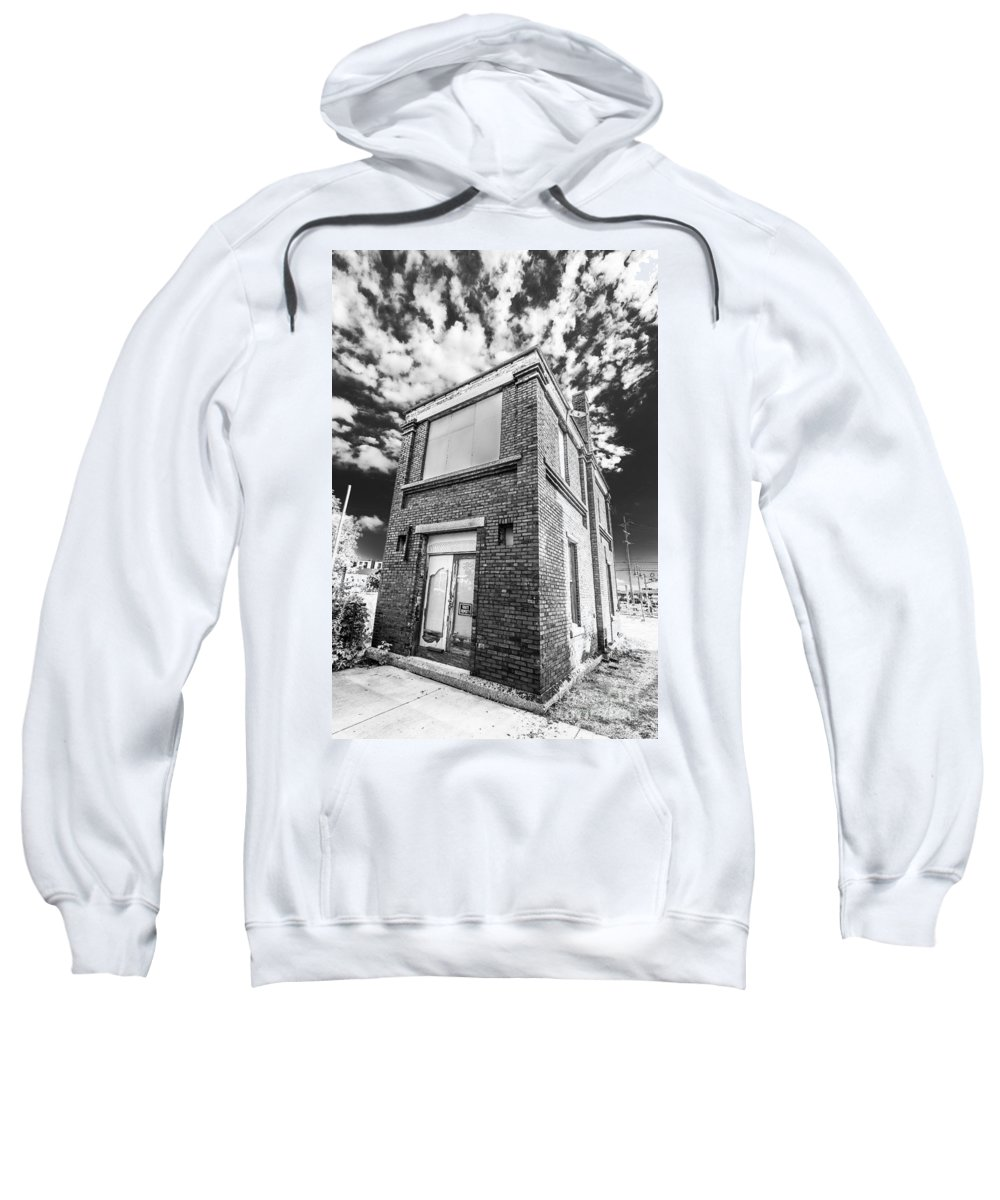 3rd Ward Sweatshirt featuring the photograph Abandoned Bridge Tower Bw by Andrew Slater