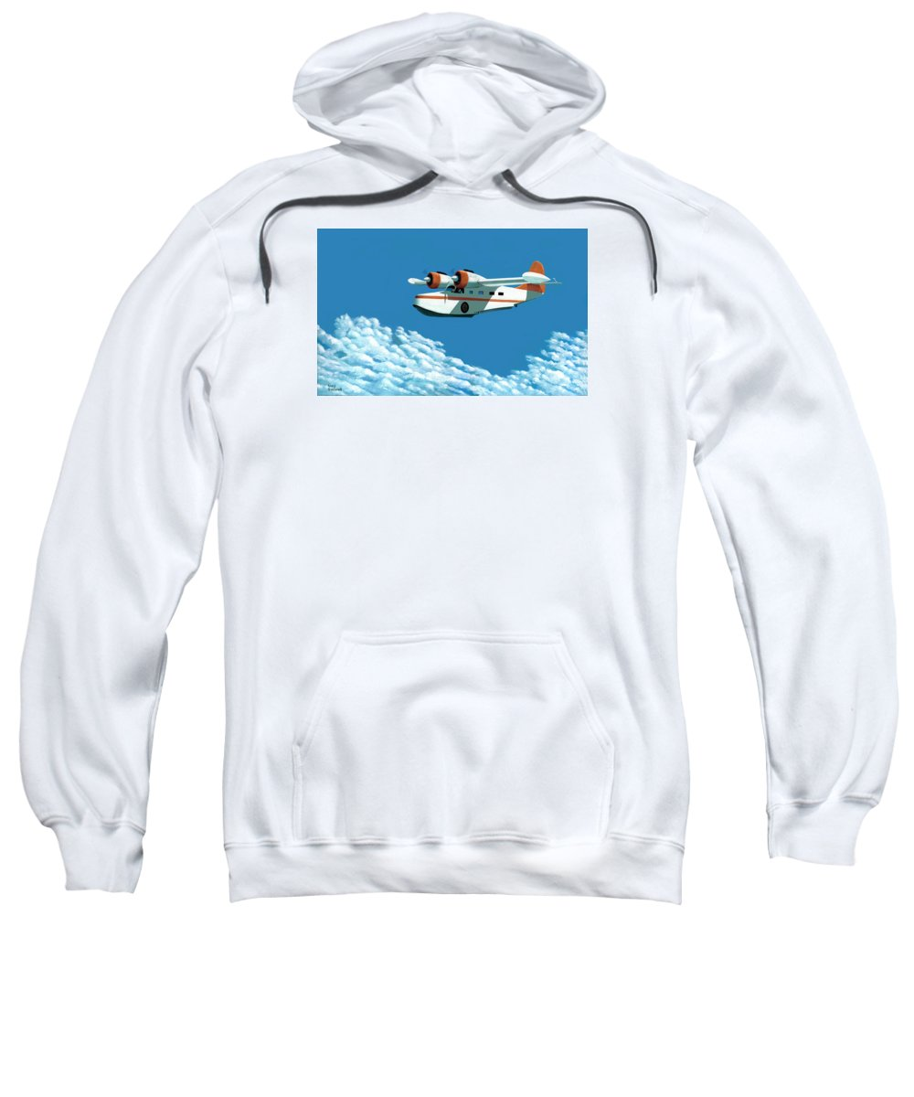G-21 Sweatshirt featuring the painting Above It All The Grumman Goose by Gary Giacomelli