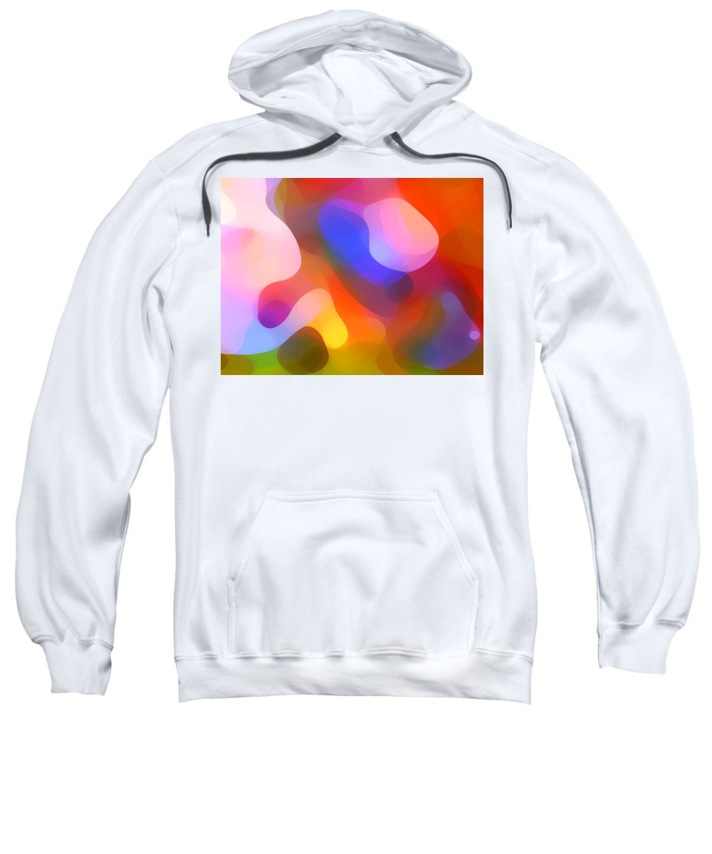 Abstract Art Sweatshirt featuring the painting Abstract Dappled Sunlight by Amy Vangsgard