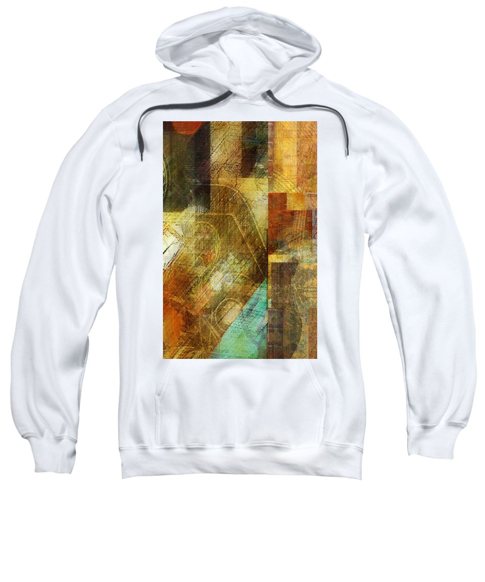 Abstract Digital Yellow Orange Red Brown Music Musical Instruments Painting Rendering Drawing Panels Rectangles Harmony Autoharp Zither Guitar Cubist Expressionism Collage Melody Musician Shop Sweatshirt featuring the photograph Abstract Music Shop Window One by Faye Cummings