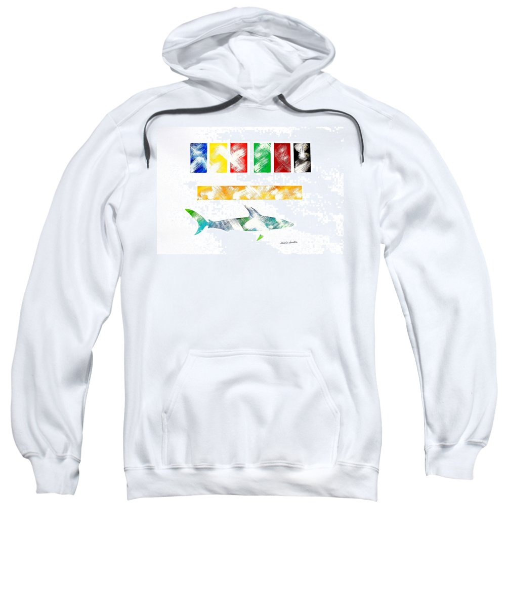 Colors Sweatshirt featuring the painting Abstract Shark by Sean Hughes