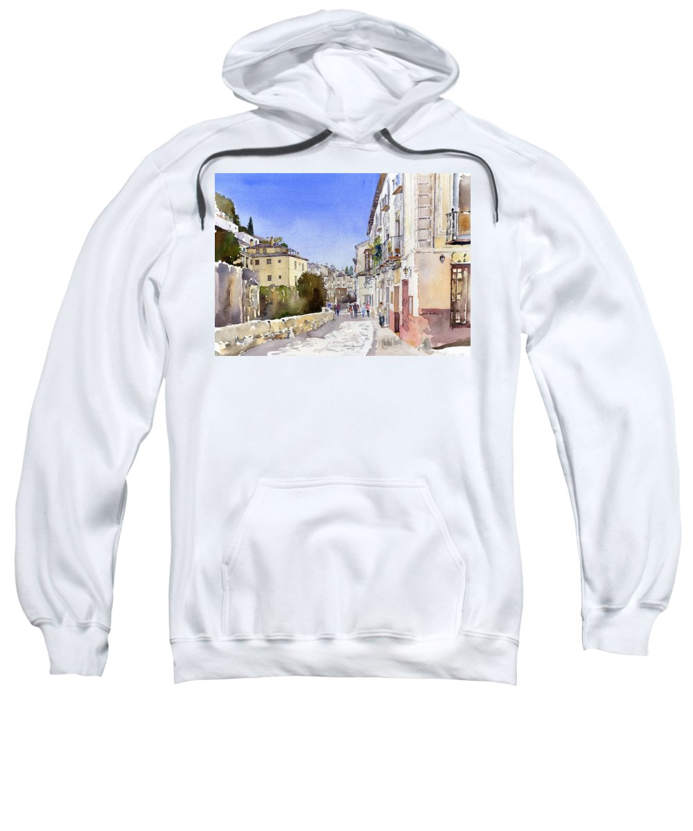 Watercolor Sweatshirt featuring the painting Acera Del Darro by Margaret Merry