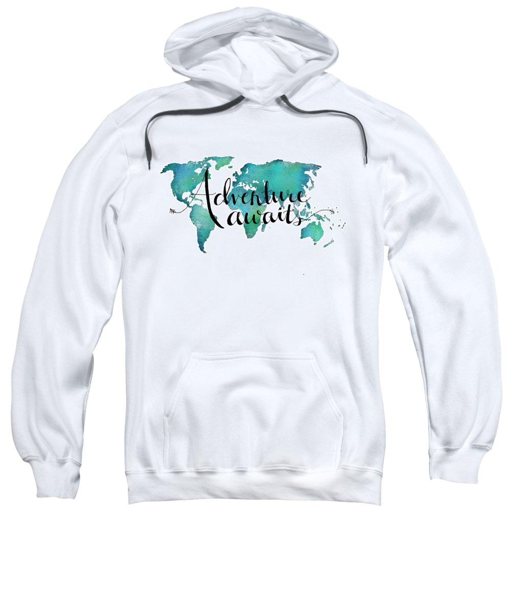 Adventure Awaits Travel Quote On World Map Adult Pull Over Hoodie
